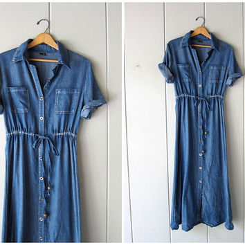 Vintage THIN blue cotton dress long chambray jean dress denim shirt dress button front midi dress pioneer farming dress Womens XS Small