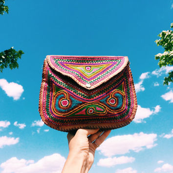 Vintage 1970's Artisan Gypsy Hand Embroidered Leather Boho Hippie Festival Crossbody Bag Purse Saddle Bag