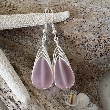 Made in Hawaii, Wire braid Turquoise Bay pink sea glass earrings, Sterling silver hook, gift for her, Beach sea glass jewelry