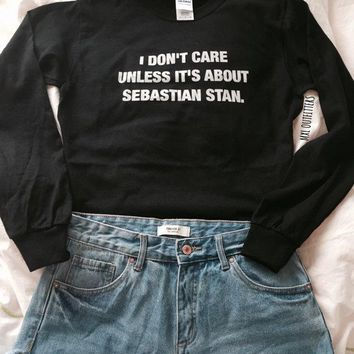 OKOUFEN unisex fashion cool tops I don't care unless its about Sebastian Stan sweatshirts pullovers letter print tumblr shirt