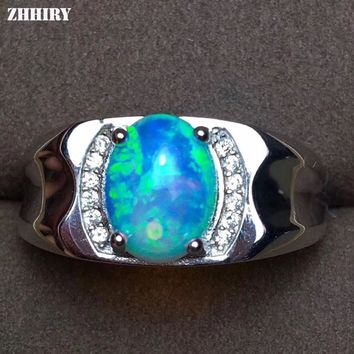 ZHHIRY Men Rings Genuine Natural Opal Gemstone 925 Sterling Silver Man Ring Real Precious Fine Jewelry
