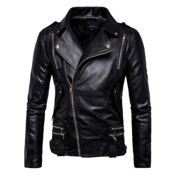 Trendy New Retro Vintage  Motorcycle Jacket Mens Spring Autumn PU Leather Sash Zipper Biker Punk Classic Turn Down Collar Size M-5XL AT_94_13