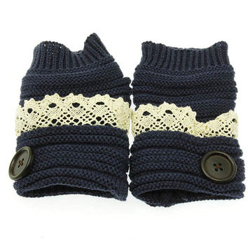 Button Lace Accent Hand Wrist Warmers in Navy