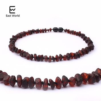 EAST WORLD Unpolished RAW Amber Necklace for Baby Gifts Teething Relief Baltic Amber Pain Relief Handmade Amber Jewelry