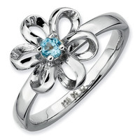 Blue Topaz Flower Stackable Ring