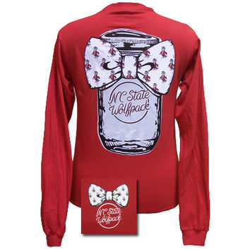 North Carolina NC State Wolfpack Big Bow Mason Jar Girlie Long Sleeve Bright T Shirt