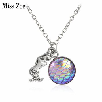 Miss Zoe Mermaid Back Bright Fish Scales Pendant Necklaces Fairy Tale Time Necklace Jewelry Gift For Women Girl Friend