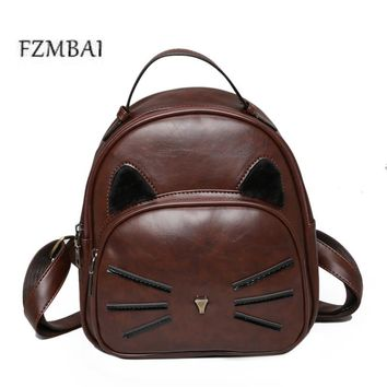 FZMBAI 2017 New PU Bag Retro Kitten Pattern Female Backpack Korean Fashion All-match Academy Student Backpack