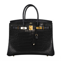 Hermes Birkin Bag 35cm Black Matte Alligator Gold Hardware! Heads Will Turn!