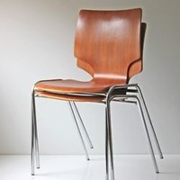 2 MID CENTURY MODERN PAIR OF BENTWOOD & CHROME STACKING CHAIRS PERFECT!