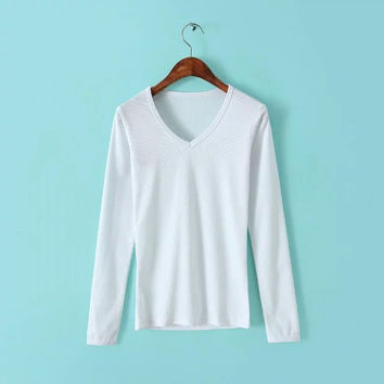 V-Neckline Long Sleeve Knitted Skinny Sweatshirt
