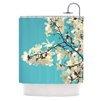 "Sylvia Cook ""White Magnolias"" Aqua White Shower Curtain"