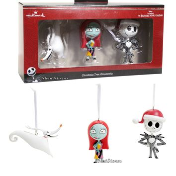 Licensed cool Disney Hallmark The Nightmare Before Christmas JACK SALLY ZERO Ornament SET NIB