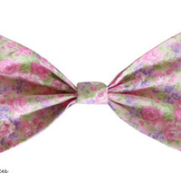 Pink Rose Garden Floral Hair Bow by craftsbyfrances on Etsy