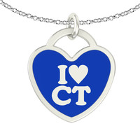 I Love Connecticut Sterling Silver Heart Necklace