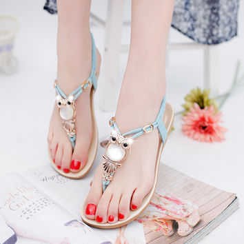 2016 Women Sandals Elastic T-strap Bohemia Beaded Owl Slipper Women Flat Sandals Women Flip flop Summer Style