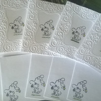 Snoopy greeting card with envelope set, Embossed blank cards, thank you cards Handmade all occasion card, hand stamped card