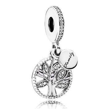 925 Sterling Silver Bead Charm Family Heritage Tree Of Life With Crystal Pendant Beads Fit Pandora Bracelet Diy Jewelry HKC4009