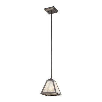 Plano 1 Light Pendant In Iron Rust With Mercury Glass
