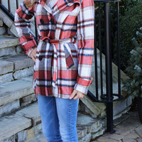 Waisted in Plaid Jacket Rust