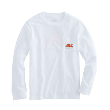 Boys Long-Sleeve Pumpkin Whale Pocket T-Shirt