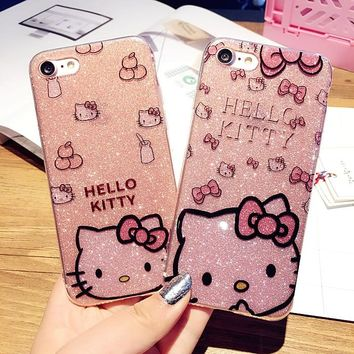 Cute Hello Kitty Bling Glitter edge Soft Phone Case for iPhone 7 6s Plus Shine Glitter Cute Back Cover Case for iPhone 5 Cases