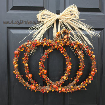 Fall Wreaths, Pumpkin Thanksgiving Wreaths, Front Door Decoratio