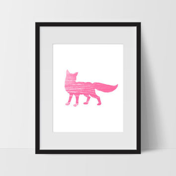 Pink Wild Fox Minimalist Art, Dorm Room Art, For The Home, Nursery Art
