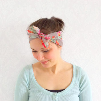 Floral Dolly Bow Headband, Head Scarf, Fashion Accessory, Hair Accessory, Head Wrap, Vintage Style Headband, Shabby Chic, Teen Gift Ideas.