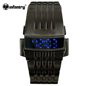 Mens LED Digital Wristwatches Stainless Steel Bracelet Watches Black Sports Watches Square Face Male