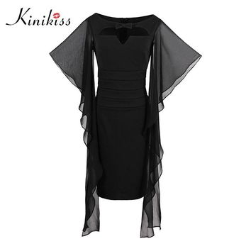 Women dress black petal sleeve beach dress spring sheath fashion sexy dress