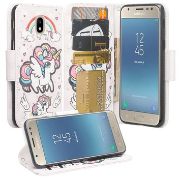 Samsung Galaxy J7 (2018) Case, Galaxy J7 (2018) Wallet Case, Wrist Strap Pu Leather Wallet Case [Kickstand] with ID & Credit Card Slots - White Unicorn 2