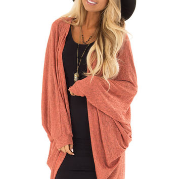 Vibrant Peach Two Tone Cocoon Cardigan with Dolman Sleeves