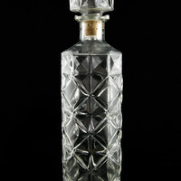 Vintage Faceted Glass Liquor Decanter Round Bar Decanter
