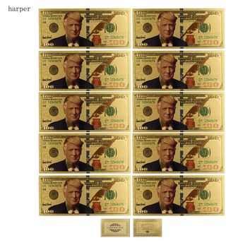 10Pcs/Lot Colorful USA Trump Banknotes 100 Dollar Bills Banknote in 24K Gold Plated Paper Money For Gifts