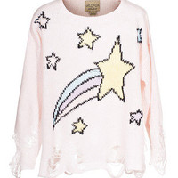 WILDFOX  Lennon Shooting Stars  Destroyed knit sweater - Pullover