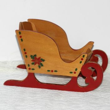 Folding Wooden Sleigh Vintage 50's | Decorated with Red Poinsettias | Christmas Sleigh for Centerpiece | Sleigh Decoration