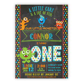 Monster Birthday Invitation - Little Monster Party Invitations - Monster 1st Birthday - 2nd 3rd - colorful - chalk Monsters Invitation