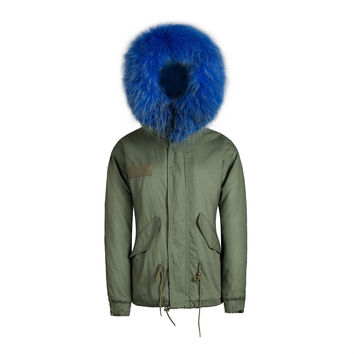 Raccoon Fur Collar Parka Jacket Blue