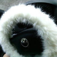 White Fuzzy Steering Wheel Cover Car Accesories Accessories Faux Fur