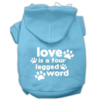 Love is a Four Leg Word Screen Print Pet Hoodies Baby Blue Size Med (12)