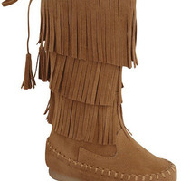 Tan Toddlers Fringe Boots