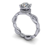 Diamond Engagement Ring Diamond Collar - Diamond Semi Mount -Forever One Moissanite Ring