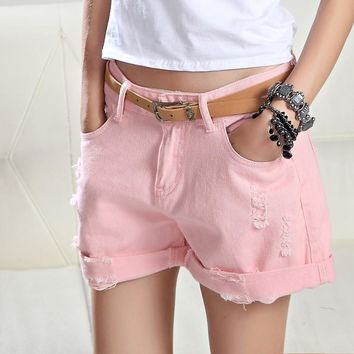 Plus Size White Pink Denim Shorts Women Summer Fashion Black Ripped Jeans Shorts Hole Tassel Femme Shorts 26-32