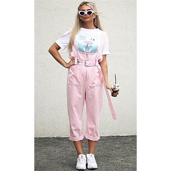 Sweet As Can Be Pink Sleeveless Overall Belted Wide Leg Jumpsuit