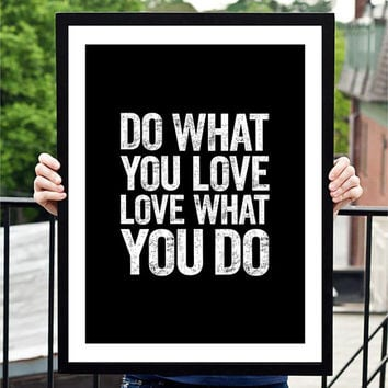 "Home and Living Home Decor Wall Decor ""Do What You Love"" Inspirational Print Art Typography Poster"