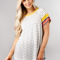 Short Sleeve Striped Contrast Top
