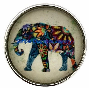 Painted Elephant Snap 20mm for Snap Jewelry