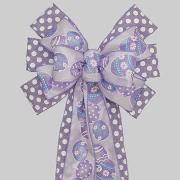 Lavender Polka Dot Eggs Easter Bow