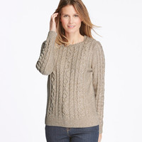 Women's Double L Mixed Cable Sweater, Crewneck Pullover Marled | Free Shipping at L.L.Bean
